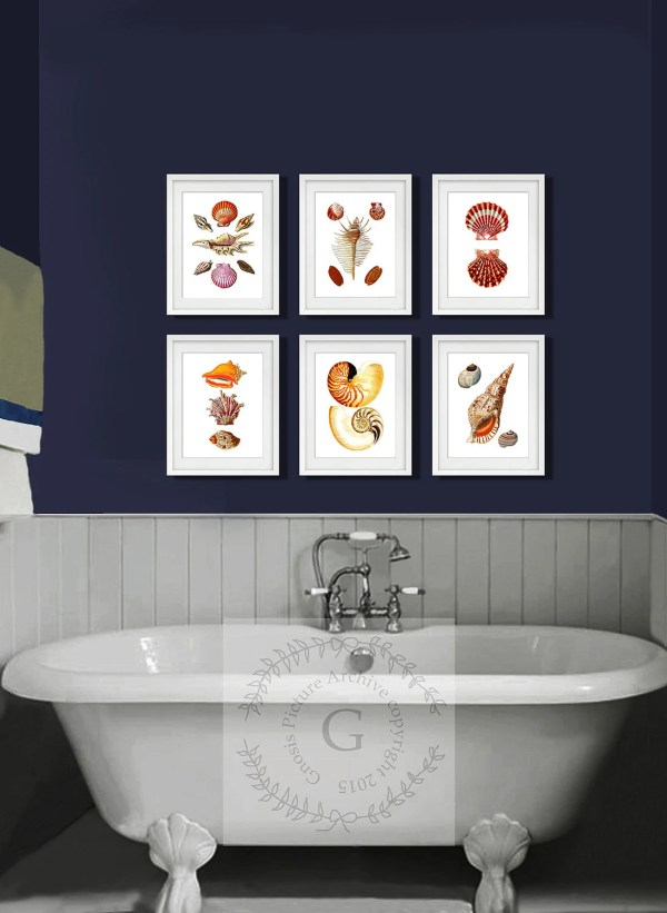 Seashells Bathroom Set Of 6 Art Prints Beach