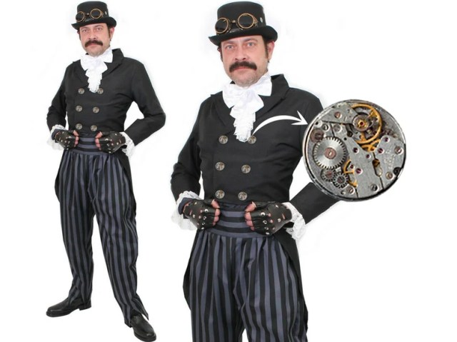 Deluxe Steampunk Victorian Mens Dress Steam Punk Cosplay with Watch Movement Buttons  1