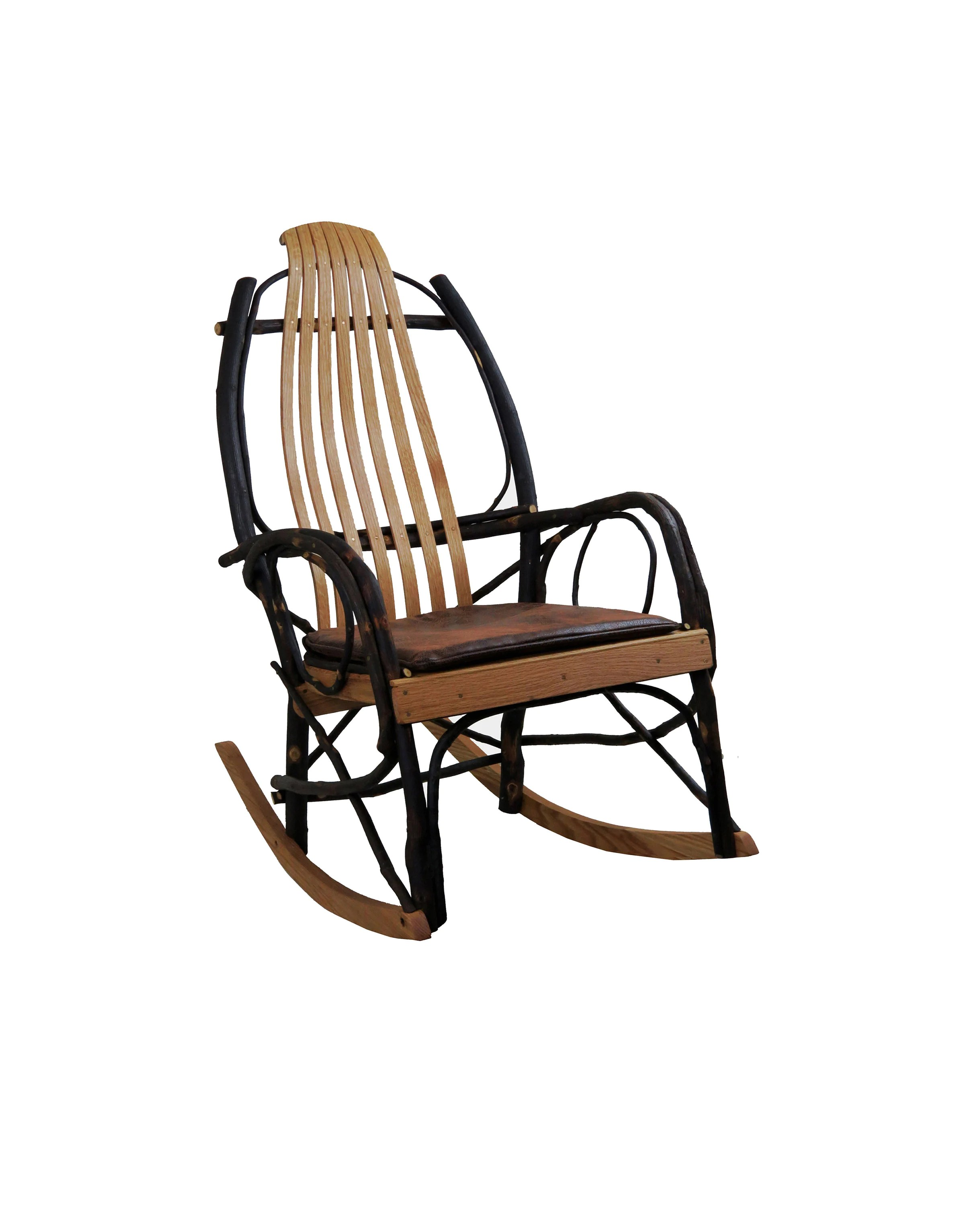 Amish Rocking Chair Seat Cushion For Amish Hickory Rocking Chair Distressed Faux Leather Fabric