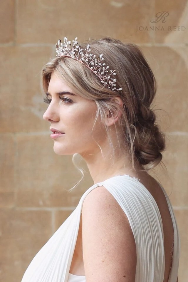 rose gold bridal headpiece, bridal crown, bridal tiara, wedding headpiece, rose gold bridal hair accessories, halo, rose gold headband