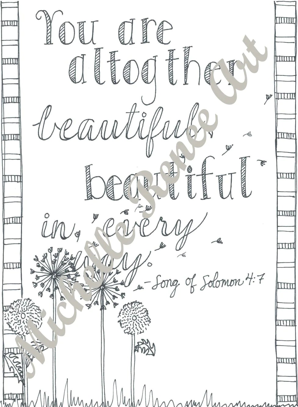 Bible Verse Coloring Page: Song of Solomon 4.7 Digital