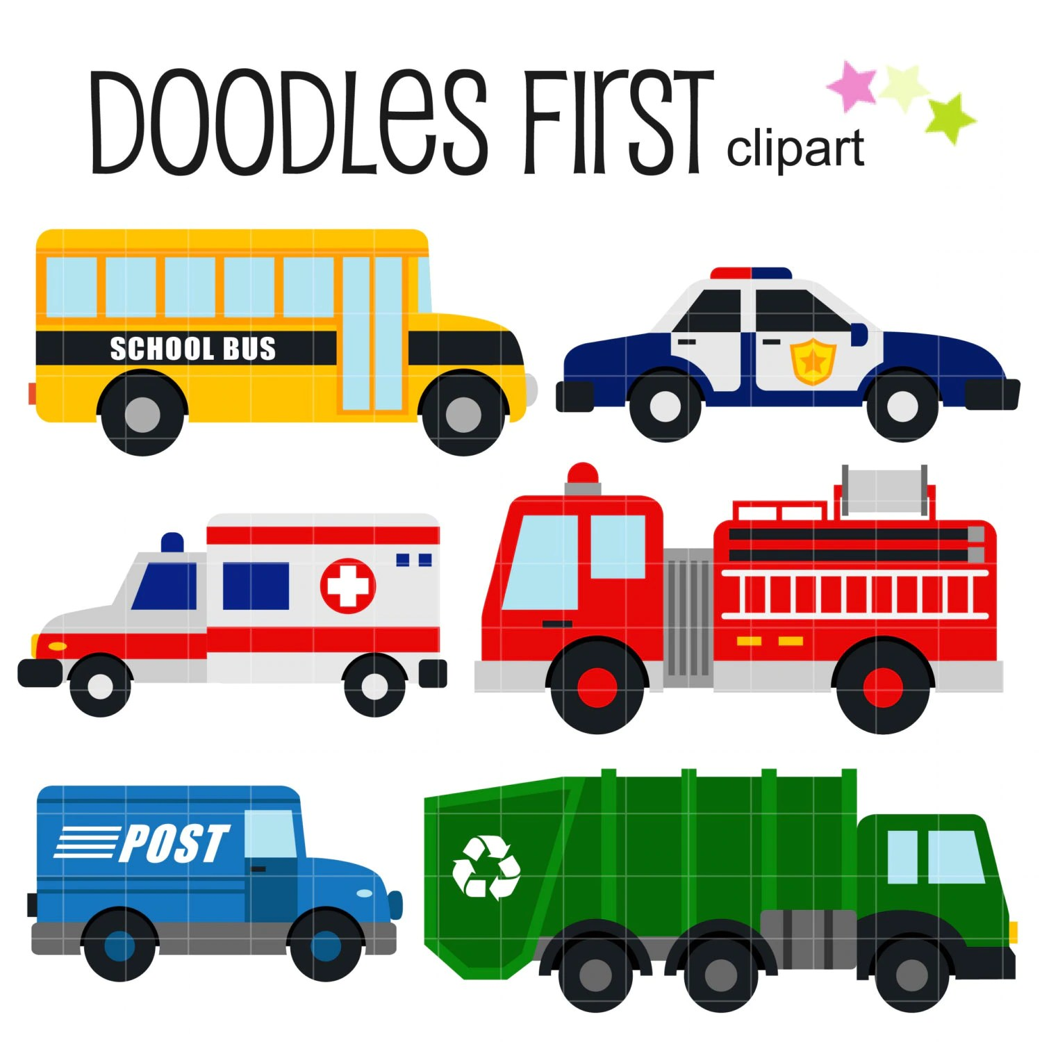 Community Vehicles Digital Clip Art For Scrapbooking Card