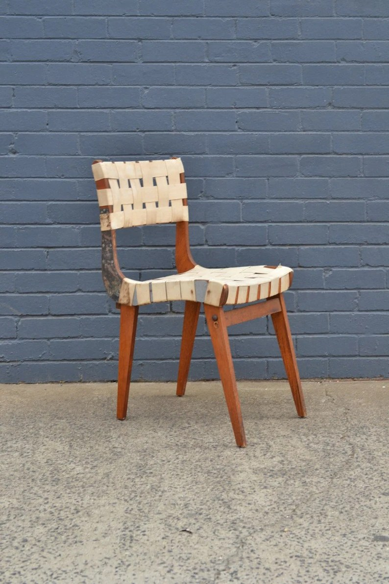 Mid Century Snelling Style Dining Chair Parachute Webbing