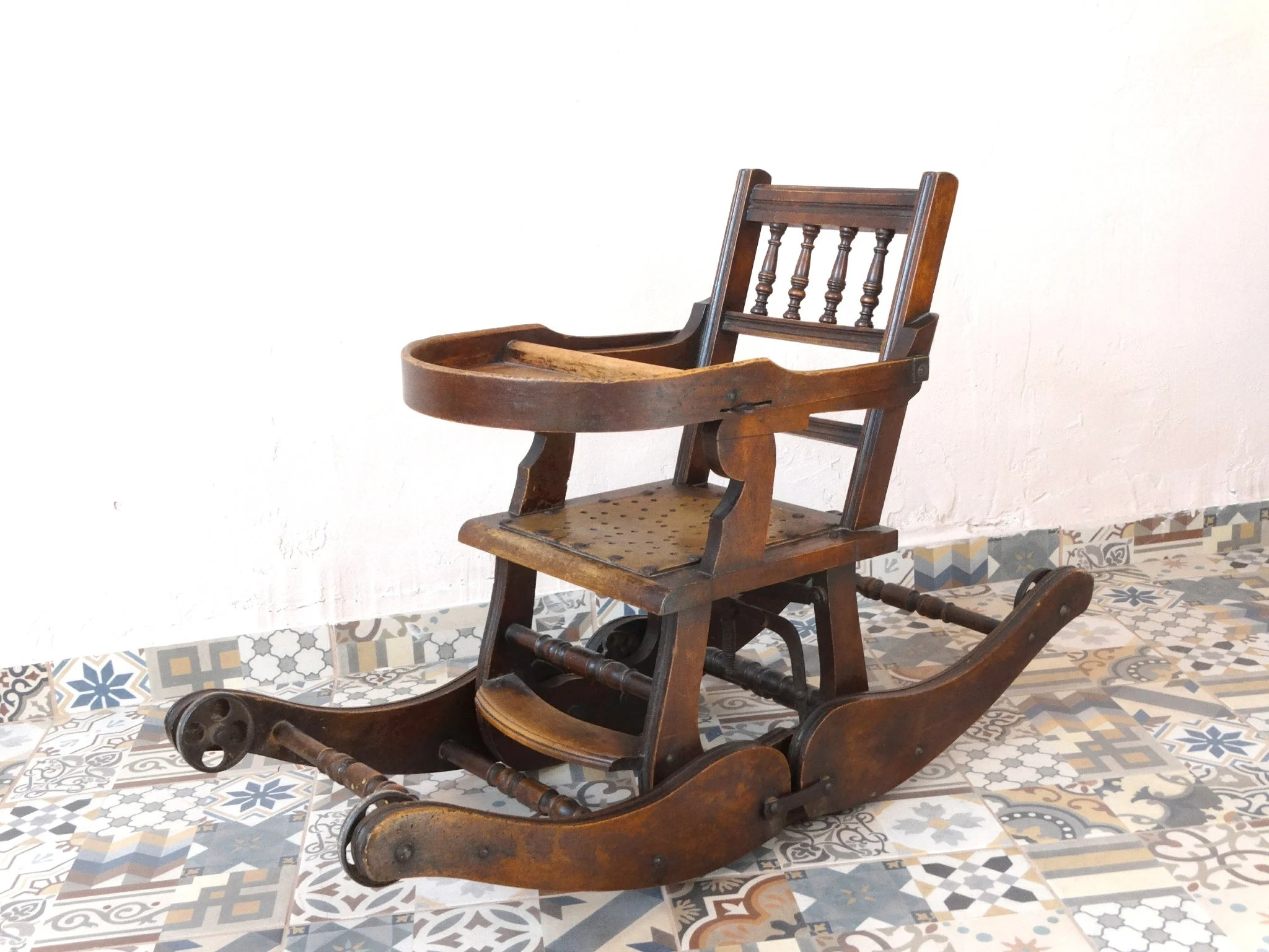 Baby Rocking Chairs Antique Rocking Chair High Chair Victorian Wooden Metamorphic Chair Antique Rocker Baby Chair Old Chair Old Rocker For Babies Rocker