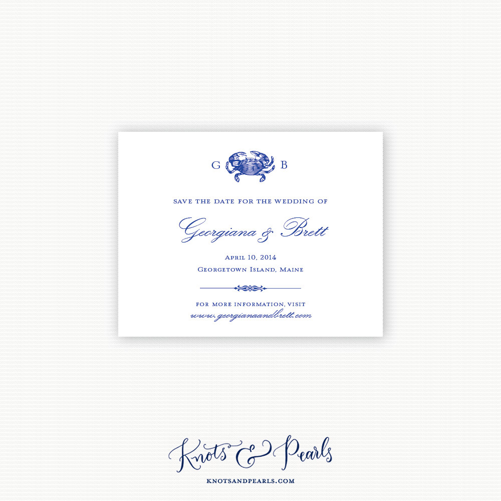 Crab Monogram Save the Date Crab Save the Date Nautical