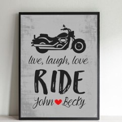 Harley Davidson Living Room Decor Ideas Coordinating Paint Colors For And Dining Motorcycle Wall Art Etsy Personalized Wedding Print Gift The Couple