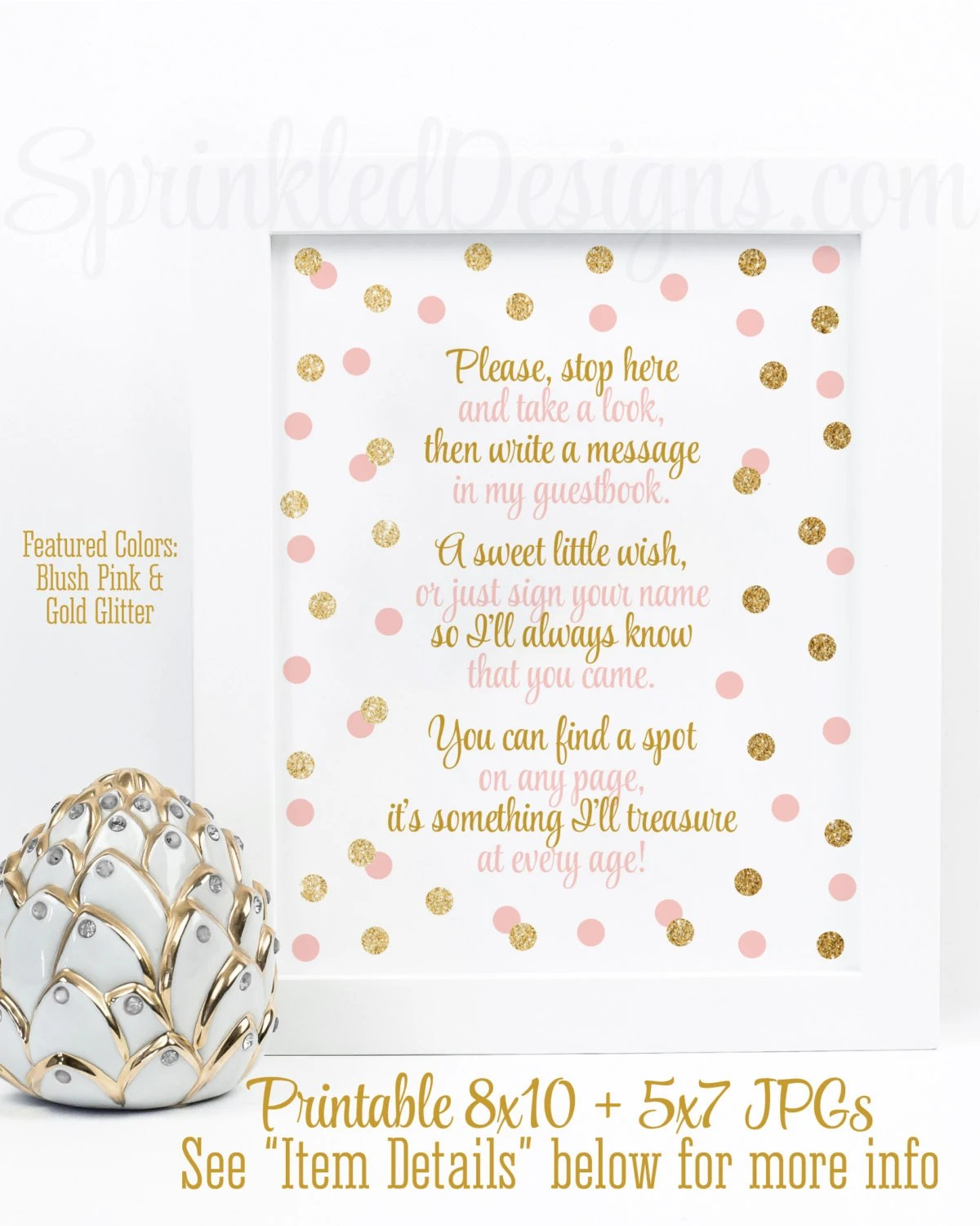 Baby Shower Guest Book Sign Printable : shower, guest, printable, Shower, Guest, Blush, Glitter, Party