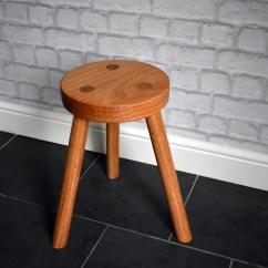 3 Legged Chair Tablet Arm Hand Made Solid Oak Stool Seating Etsy Image 0