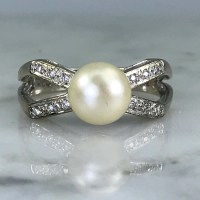 Pearl Diamond Ring. A Bow Style. 14k White Gold. Vintage ...