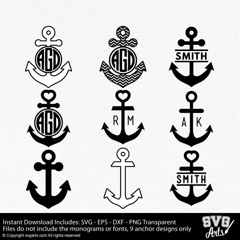 Download Anchor Monogram Cut Files - SVG - EPS - DXF & Png - 9 ...