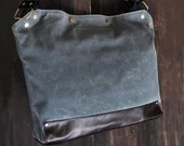 Messenger Bag / Large (Gray)  Waxed Canvas, Leather, Crossbody, Bike Bag, Cycling Bag, Handmade Shoulder Bag, Work Bag, Cyclist