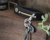 Keychain 01 / Black  Genuine Leather, Key Holder, Key Fob, Leather Strap,