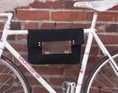 2 Function Hanging Tote Bag / Bike Tote Bag (Black)  Waxed Canvas, Genuine Leather, Cycling Bag, Cyclist