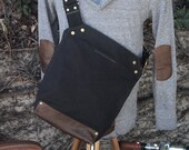 Messenger Bag / Small (Black)  Waxed Canvas, Leather, Crossbody, Bike Bag, Cycling Bag, Handmade Shoulder Bag, Work Bag, Cyclist