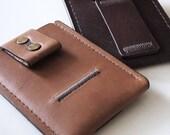 Leather Minimal Wallet / Minimalist Wallet / Minimalism / Card Holder / Slim Card Case (Light Brown)