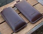 Genuine Leather iPhone 8, 7, 6 / iPhone 8 Plus, 7 Plus, 6 Plus Case (Dark Brown)