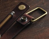 Keychain 01 / Reddish Brown  Genuine Leather, Key Holder, Key Fob, Leather Strap,