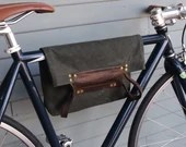 2 Function Hanging Tote Bag / Bike Tote Bag (Green)  Waxed Canvas, Genuine Leather, Cycling Bag, Cyclist