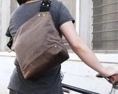 Messenger Bag / Small (Brown)  Waxed Canvas, Leather, Crossbody, Bike Bag, Cycling Bag, Handmade Shoulder Bag, Work Bag, Cyclist