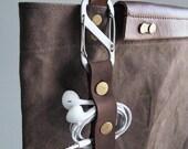 Genuine Leather Earbud Holder(Brown)  Earphone Cord Holder USB Cable Holder Cable Organizer Cord Keeper iPhone Cord Wrap Headphone Earbuds