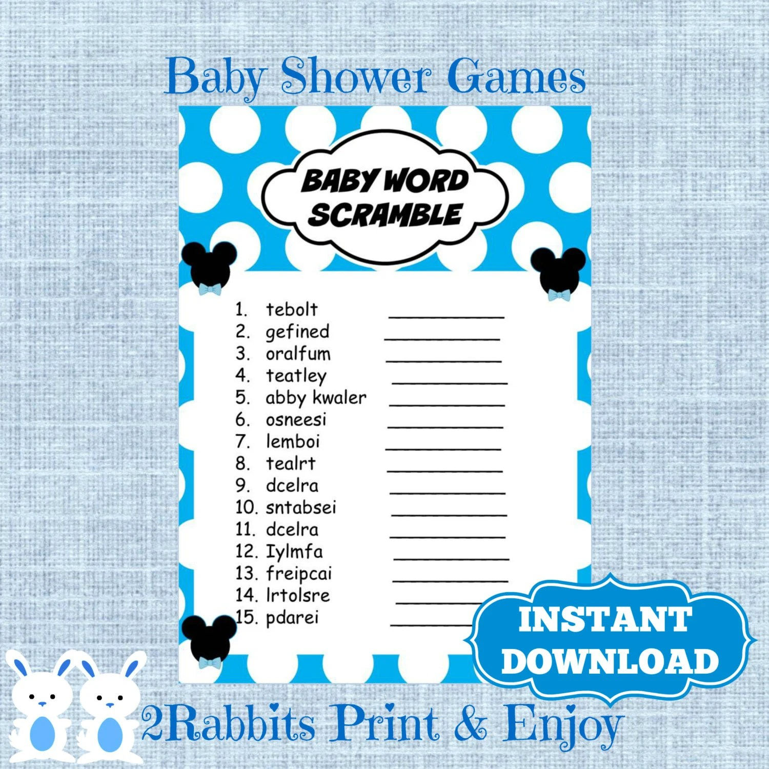 Mickey Mouse Baby Shower Word Scramble With Answers Disney