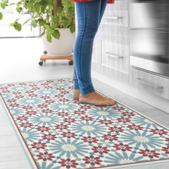 Kitchen Carpet Sherwin Williams Cabinet Paint Colors Rugs Etsy Vinyl Floor Mat With Moroccan Tiles In Blue And Red Linoleum Style Rug Zellige Design Bath Pet Art
