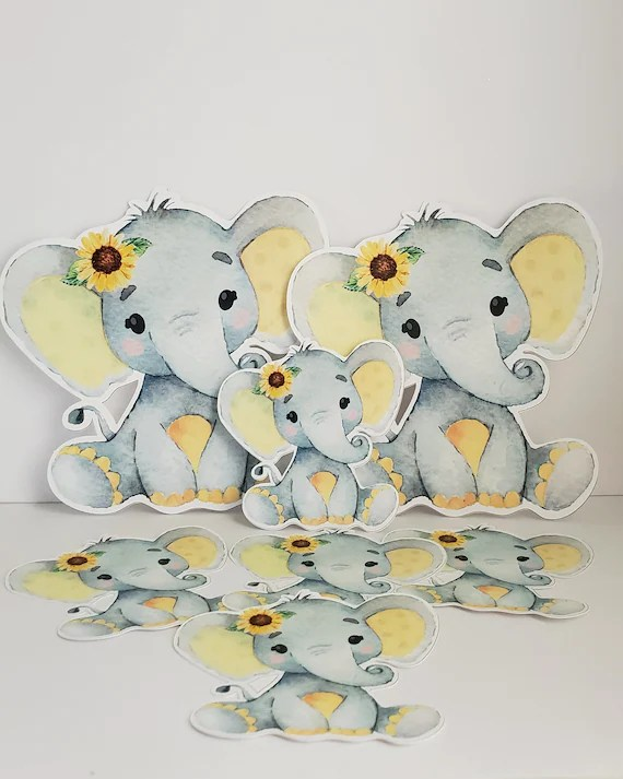 Sunflower Centerpieces Baby Shower : sunflower, centerpieces, shower, Elephant, Sunflower, Shower,, Decorations, Watercolor, Cutout, Topper, Cutesophia, Catch, Party