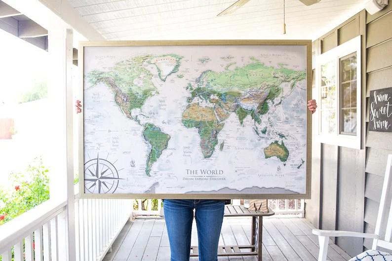 World Map Push Pin World Map Wall Art Includes the USA image 0