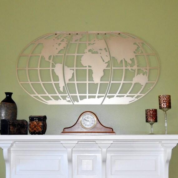 World Map Wall Art Globe Metal Wall Art Personalized In Etsy ...