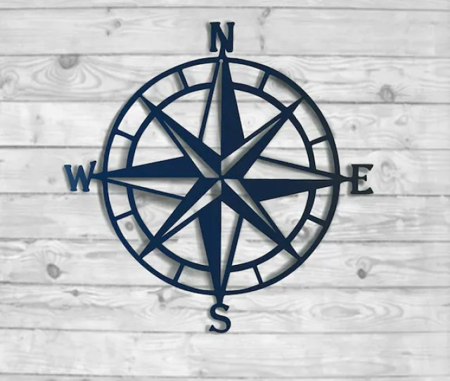 Nautical Compass Rose Metal Wall Decor  Color Choices Etsy