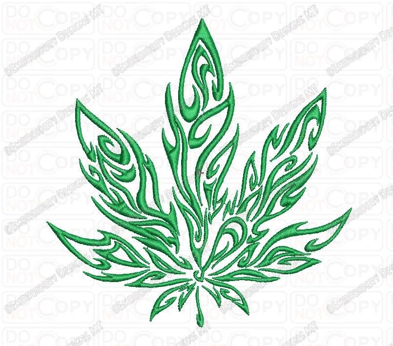 Diseño De Bordado De La Hoja De Marihuana Tribales Llama Etsy