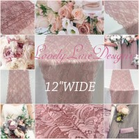 Dusty Rose Lace Table Runner/12ft-19ft long x 12wide/Lace ...