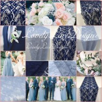 Navy Blue/Dusty Blue Lace Runners/12ft-20ft long x 12in ...