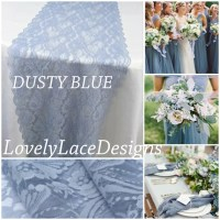 DUSTY BLUE Lace Table Runner/12 wide/3ft
