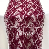 Burgundy/Dusty Blue Lace Table Runner/12 wide/3ft