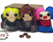 Harry Dresden, Karrin Murphy and Molly Carpenter - Dresden Files plushies (made to order)