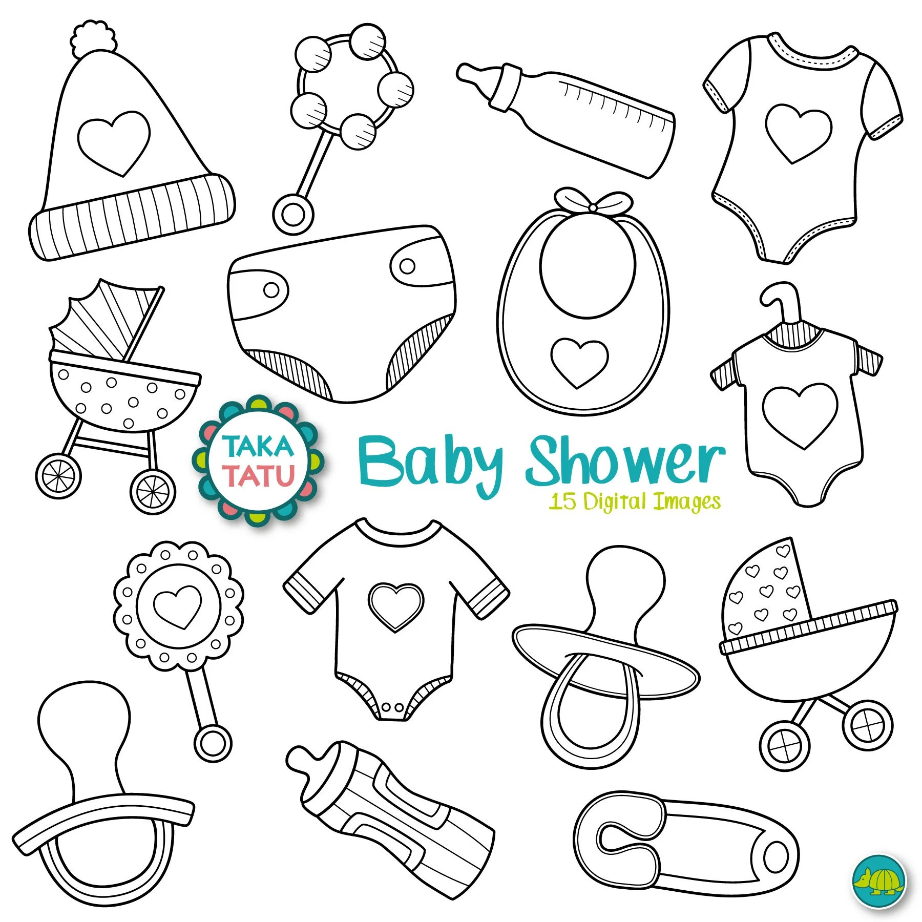 Baby Shower Digital Stamp Pack Black And White Clipart