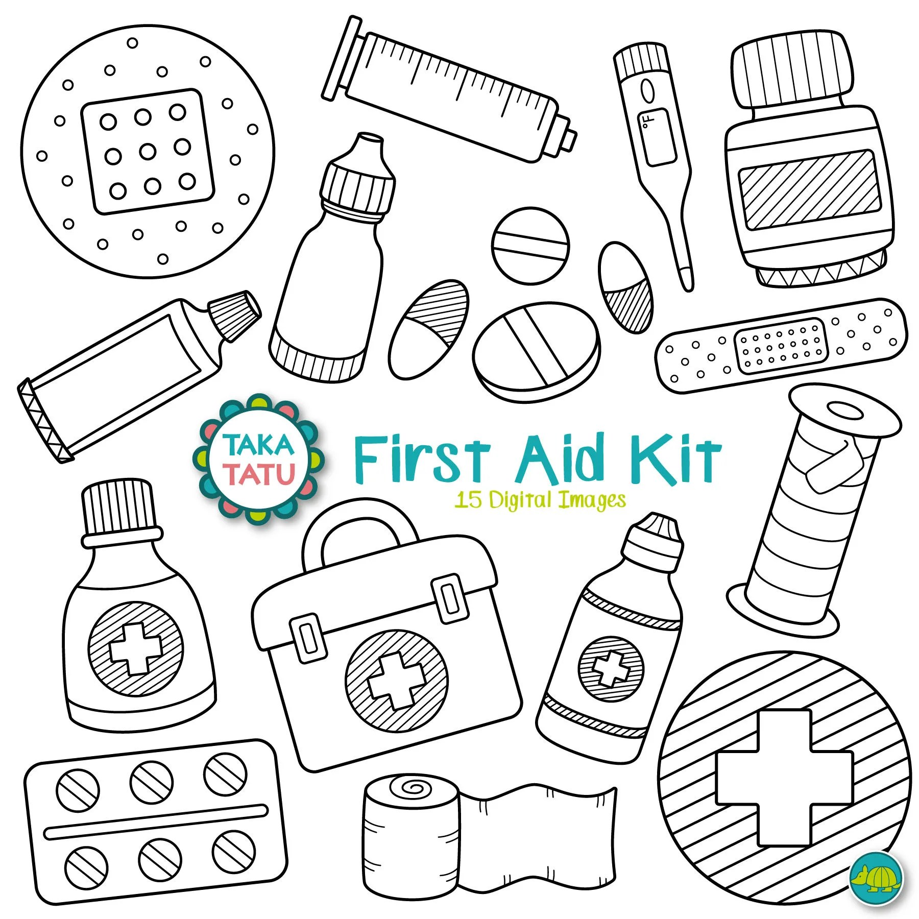 First Aid Kit Digital Stamp First Aid Clipart / Medical