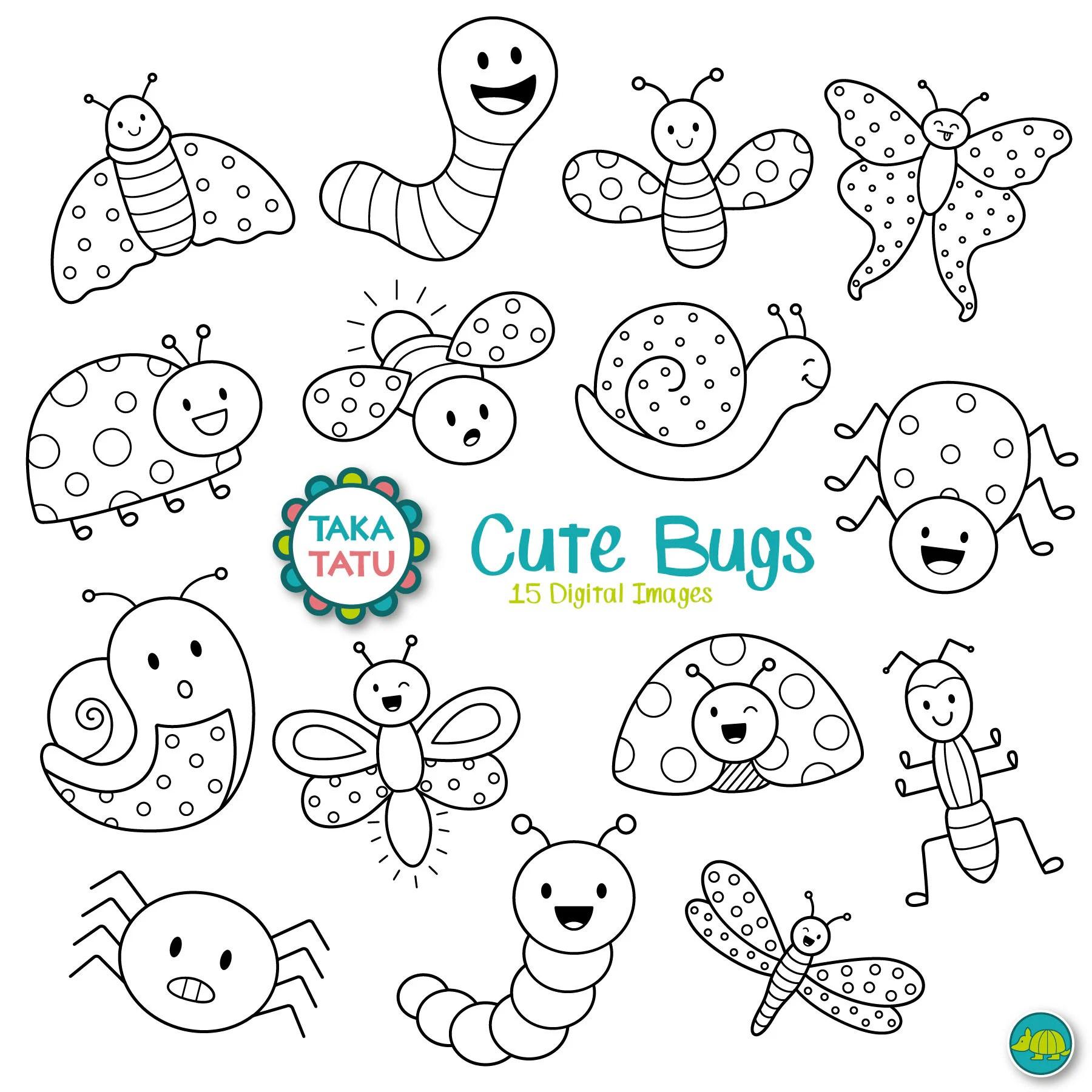 Cute Bugs Digital Stamp Cute Bugs Clip Art Kawaii Bugs