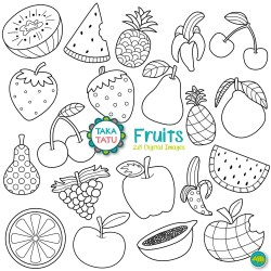 Fruits Digital Stamp Pack Black and White Clipart / Fruits Etsy