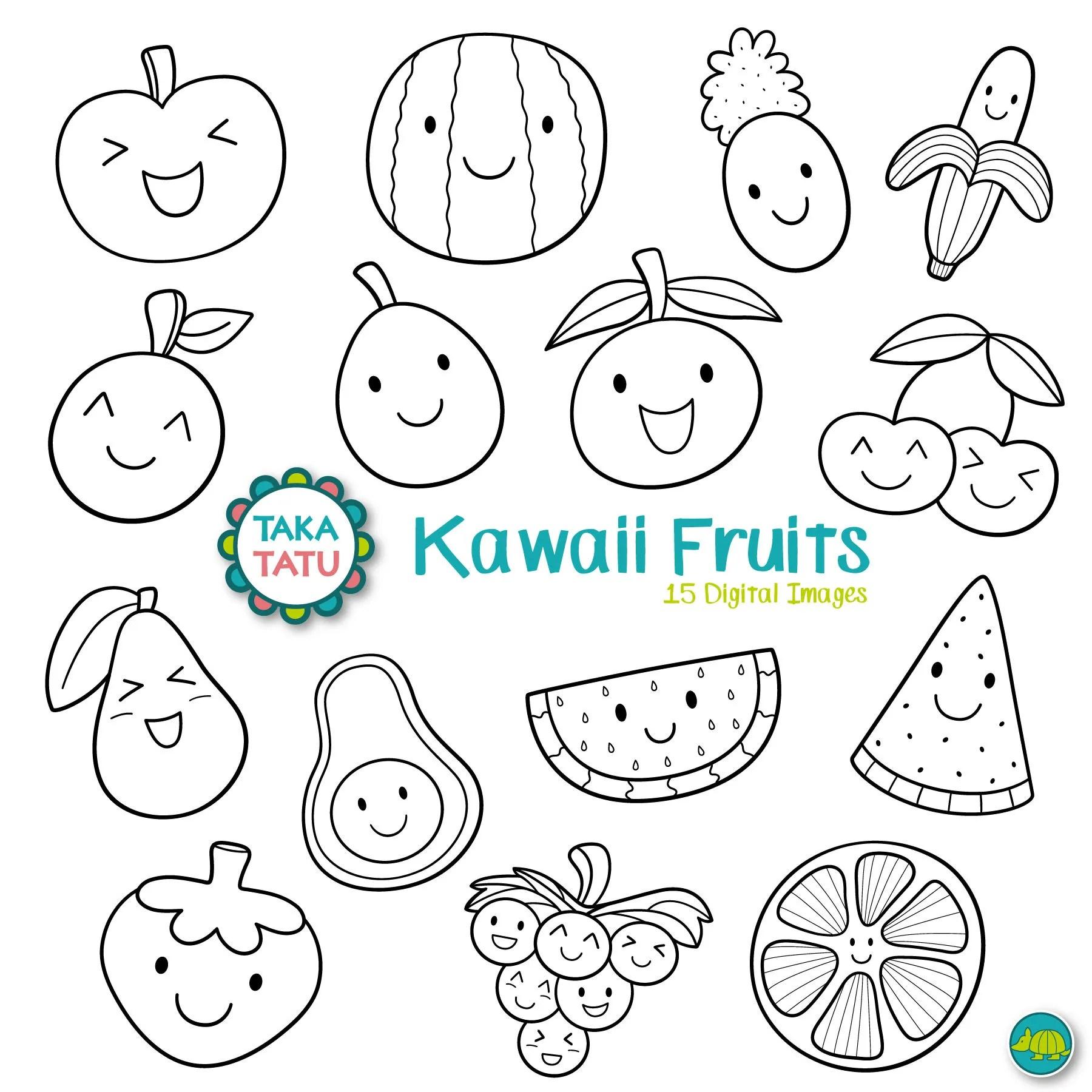 Kawaii Fruits Digital Stamp Black And White Clipart