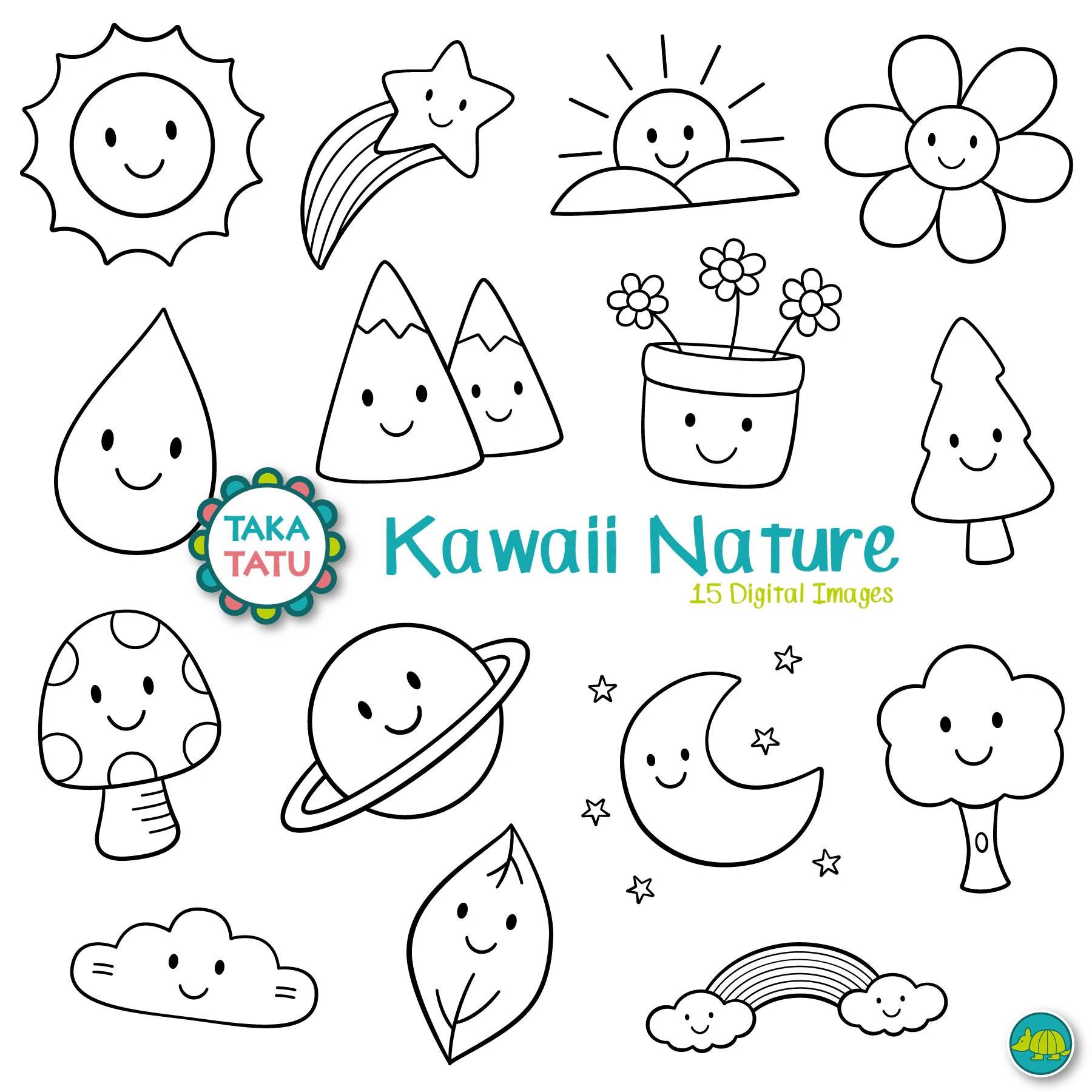 Kawaii Nature Digital Stamp Pack Kawaii Nature Clipart