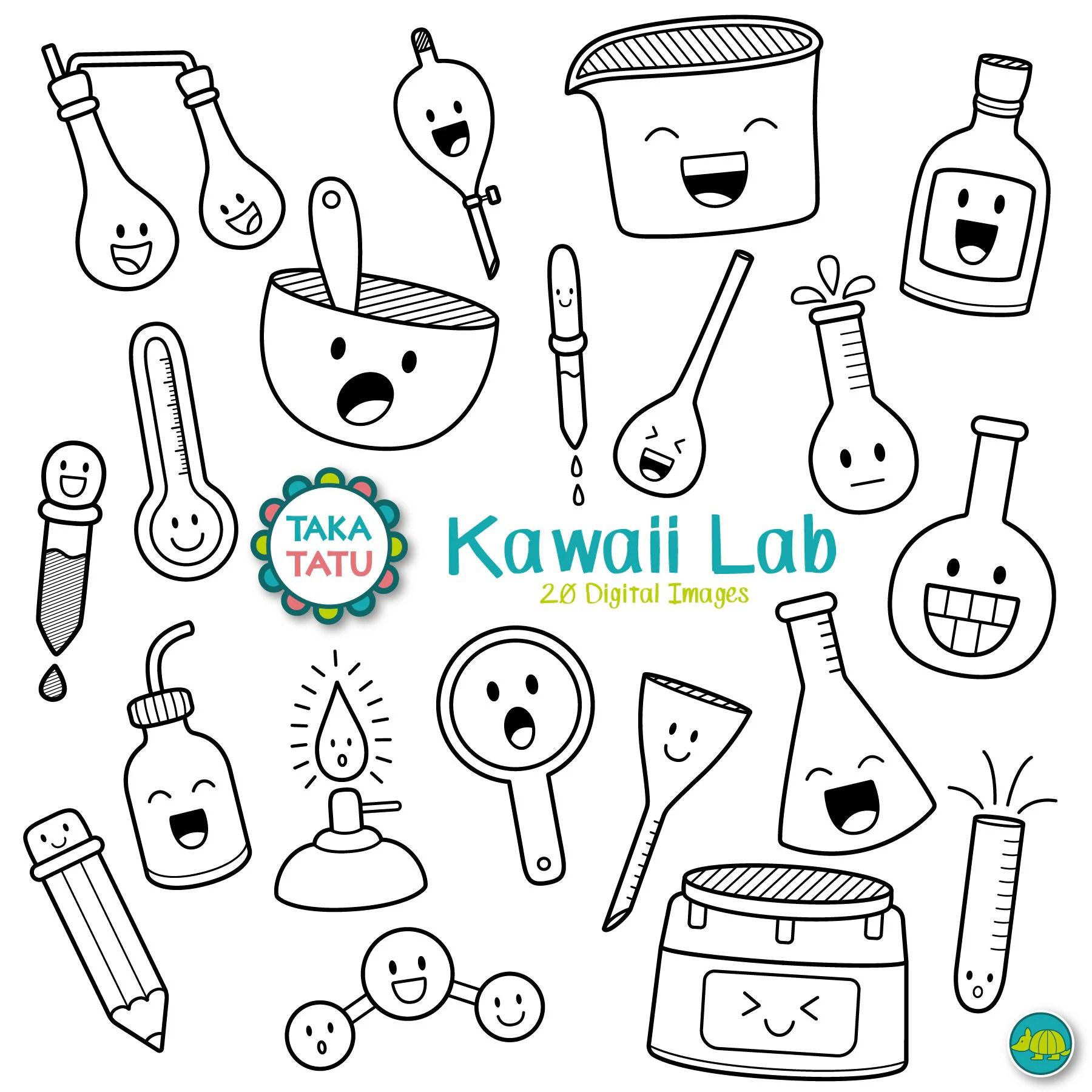 Kawaii Lab Digital Stamp Science Lab Clipart / Science