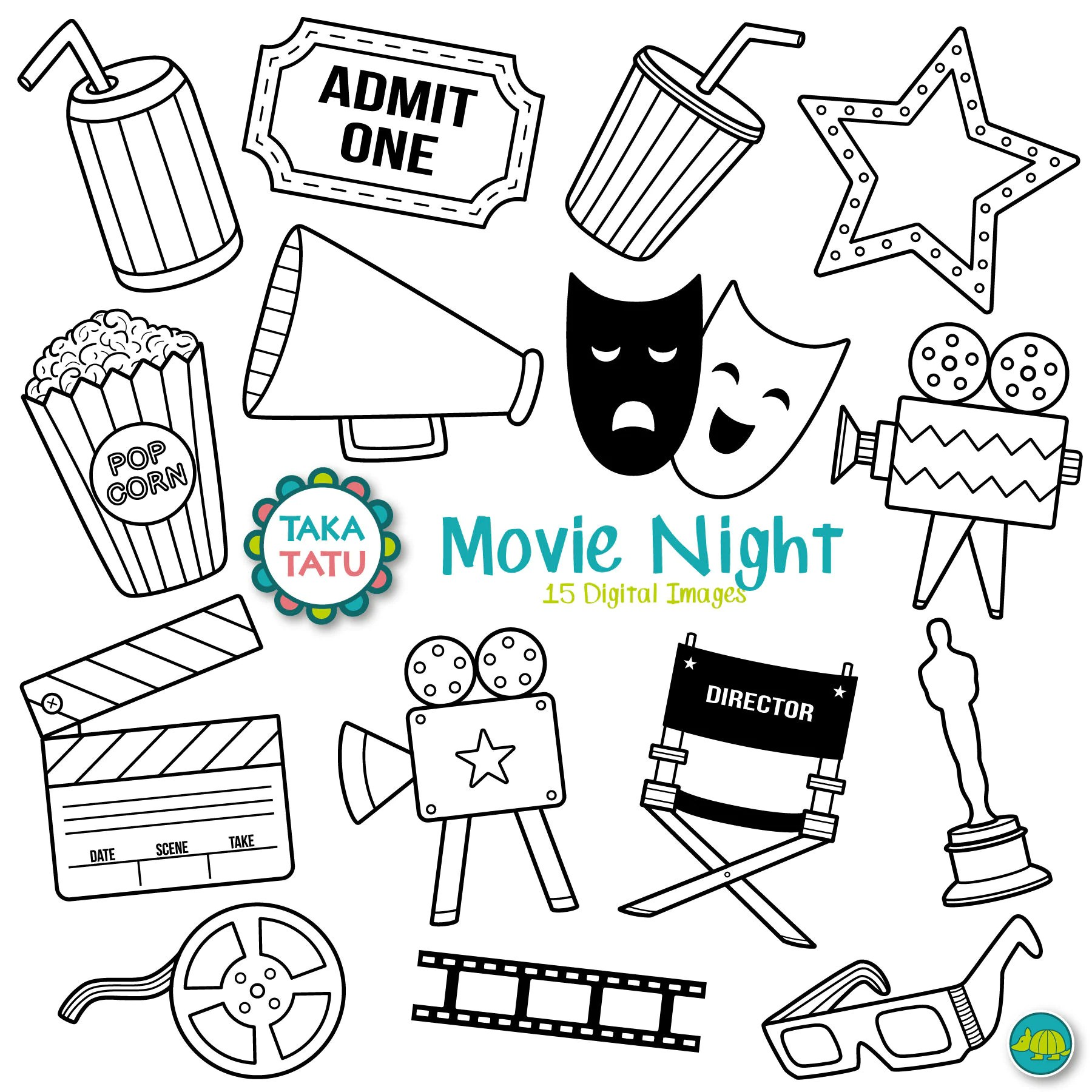 Movies Digital Stamp Movies Clipart / Movie Night / Movie