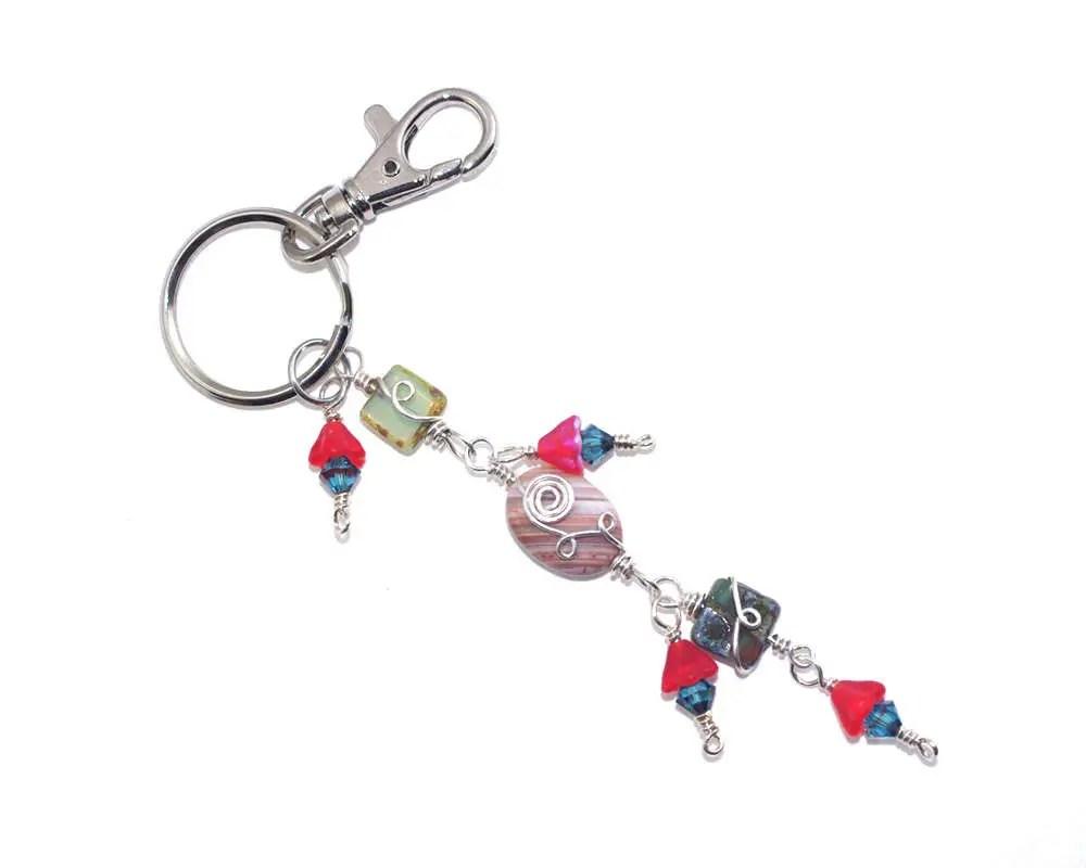 Beaded Keychain Stone Crystal Key Chain Handbag Charm Clip