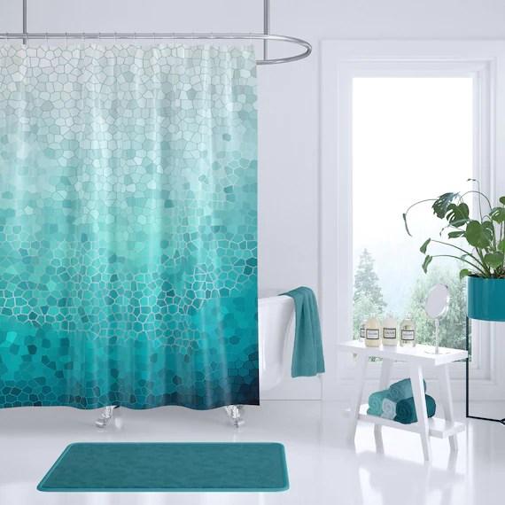 sea foam shower curtain coastal mosaic fabric aqua ocean waves shore sea art coastal decor bath home