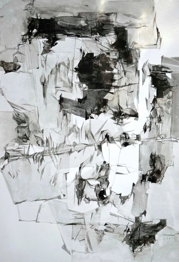 Ink Drawing Original Contemporary Art Abstract Achromatic