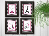 Paris Decor Baby Girl Nursery Decor Art Print Girls Room