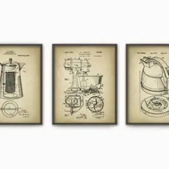 Kitchen Art Prints Chief Print Etsy Appliance Patent Set Of 3 Poster Food Mixer Kettle Coffee Percolator Decor