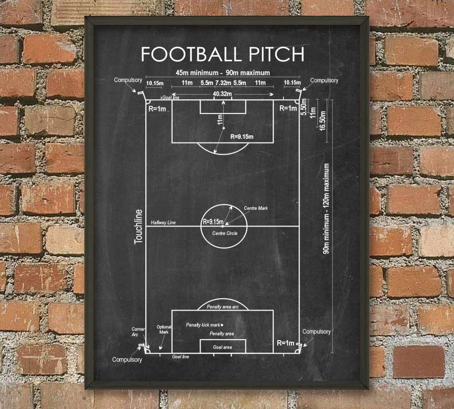 football pitch diagram to print f350 trailer wiring soccer schematic wall art poster etsy image 0